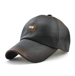 Men's Patch Hat Adjustable Faux Leather Cap
