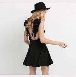 Party Wear Women Sexy V Neck Angel Wings Open Back Skater Cami Mini Dress
