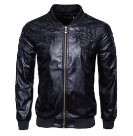 Men's Floral Embroideried Faux Leather Jacket