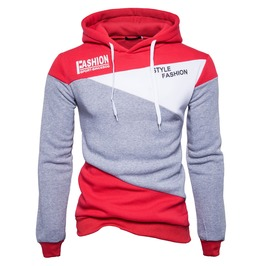 Men's Fashion Letter Printed Colorblock Hoodies
