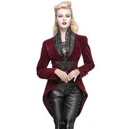 Gothic Steampunk Aristocrat Vtg Tailcoat Red Velvet Women Fashion Jacket