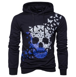 Men's Gradient Skull Printed Hoodies