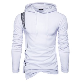 Men's Letter Colorblock Cropped Hem Hoodies
