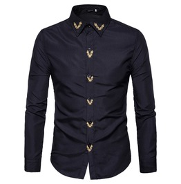 Men's Embroideried Slim Fitted Button Down Shirt