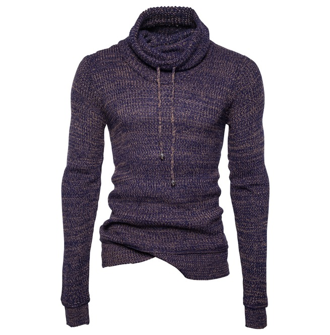 Men's High Collar Drawstring Slim Fitted Sweater