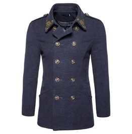 Men's Gold Embroideried Double Breasted Slim Fitted Woolen Coat