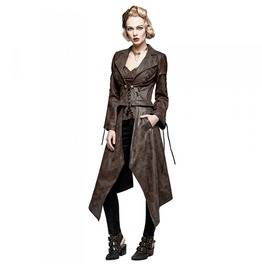 Womens Brown Long Faux Leather Goth Steampunk Jacket Free Shipping
