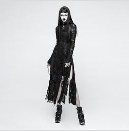 Womens Black Burnout Mesh Rose Lace Corset Slit Long Goth Dress Ships Free