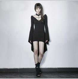 Womens Black Corset Back Bell Sleeve Tailed Goth Choker Dress Ships Free