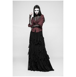 Womens Black Burnout Raggedy Full Length Gothic Witch Skirt Ships Free