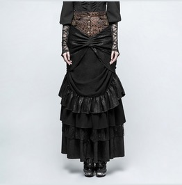 Womens Black Brown Fitted Victorian Steampunk Full Length Skirt Ships Free
