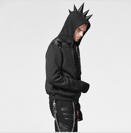 Mens Spiked Hoodie Sweater Jacket Black On Black Badass Steampunk Shirt New