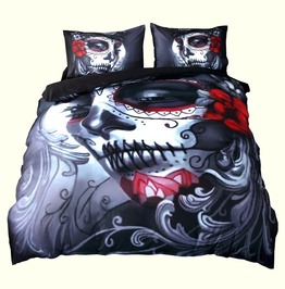 Gothic Bride Skull Duvet Cover Bedding Set