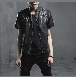 Black Gothic Metal Studded Leather Vest Punk Rock Rivets Chrome Men Jacket
