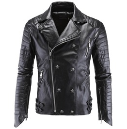 Black Leather Skull Studded Metallic Biker Jacket For Men New German Design