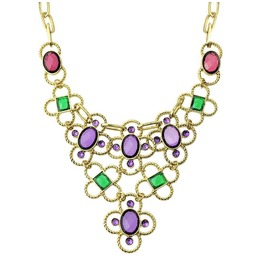 Boho Multicolored Crystal Stone Rhinestone Asymmetrical Statement Necklace