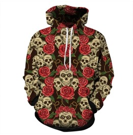 Death Rose Flower Hoodie Sweater Winter Wear For Men Or Women New