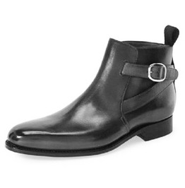 Handmade Men Black Jodhpurs Ankle Boot, New Men Black Ankle Formal Casual B