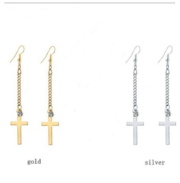 Punk Rock Gold Silver Plated Long Bar Cross Chain Crystal Drop Earrings