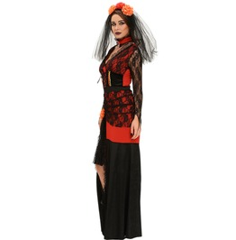 Ladies 3pc Day Of The Dead Diva Halloween Costume Lace Dress