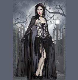 Ladies Deluxe Vixen Vamp Party Dress & Cape Halloween Costume