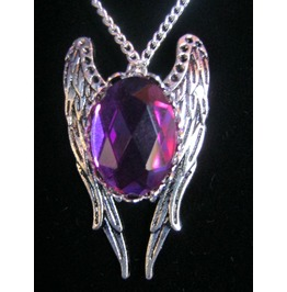 Necklace Pruple/Fuchsia Stone Wings Chain