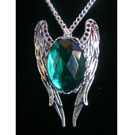 Necklace Green Stone Wings Chain