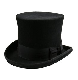 100% Wool Black Victorian Mad Hatter Top Hats Vintage Costume Hats