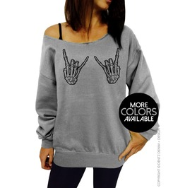 Skeleton Hands, Rock On, Halloween Clothing, Women's Slouchy Sweatshirt