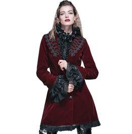 Gothic Steampunk Victorian Red Velvet Deep V Neck Coat For Women