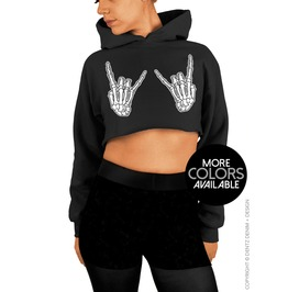 Skeleton Hands, Rock On, Halloween Clothing, Cropped Hoodie Sweatshirt