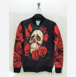 Unisex Skull Rose Print Bomber Jacket Mens Womens