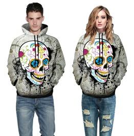Unisex Mexican Skull Print Hoodie Mens Womens