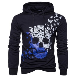 Mens Faded Skull Print Hoodie Sweater