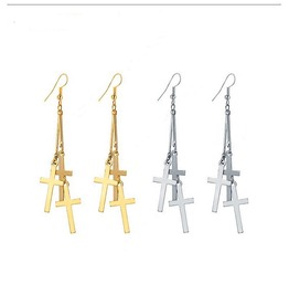 Punk Rock Gold Silver Plated Long Bar Three Crosses Chain Dangling Earrings