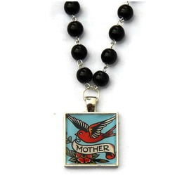 Rockabilly Mother Tattoo Art Swallow Necklace