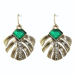 Antique Gold Emerald Gemstone Rhinestone Peacock Leaf Feather Drop Earrings