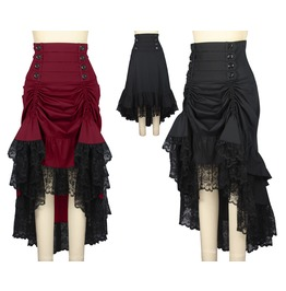 Black Red High Waisted Gypsy Victorian Gothic Skirt Plus Sizes Free To Ship