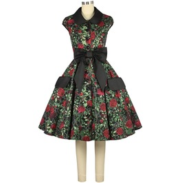 Black Red Rose Print Rockabilly Pin Up Party Dress Plus Sizes Free To Ship