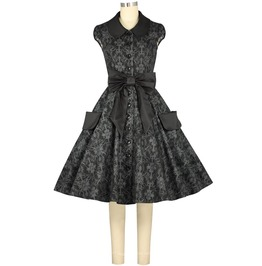 Black Floral Print Rockabilly Pin Up Party Dress Plus Size Free To Ship