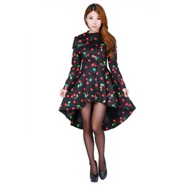 Black Red Cherry Rockabilly Retro Corset Fall Jacket Plus Size Free To Ship