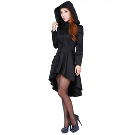 Black Corsetted Gothic Hooded Knee Length Fall Jacket Plus Size Ships Free