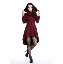 Red Corsetted Gothic Hooded Knee Length Fall Jacket Plus Size Ships Free