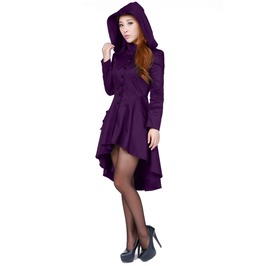 Purple Corsetted Gothic Hooded Knee Length Fall Jacket Plus Size Ships Free