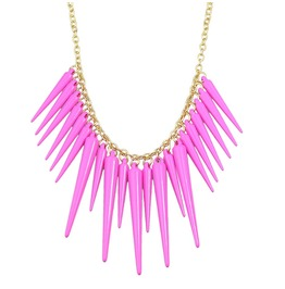 Punk Rock Gold Chain Hot Pink Spike Cone Rivet Tassel Statement Necklace