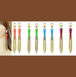 Urban Exaggerated Big Gold Tassel Chain Neon Color Triangle Dangle Earrings