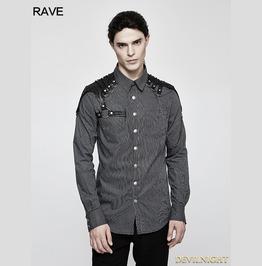 Grey Steampunk Striped Chain Shirt For Men Y 819 Bk