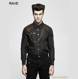 Brown Steampunk Striped Chain Shirt For Men Y 819 Co