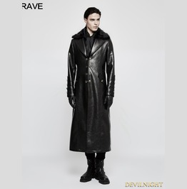 Black Gothic Military Uniform Long Pu Leather Coat For Men Y 818