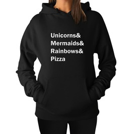 Unicorns Mermaids Rainbows Pizza Women Hoodies Sweatshirt Pullovers